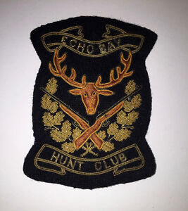 "ECHO BAY - HUNT CLUB patch 4.5"" x 3.5"" black w/ gold embroidery"