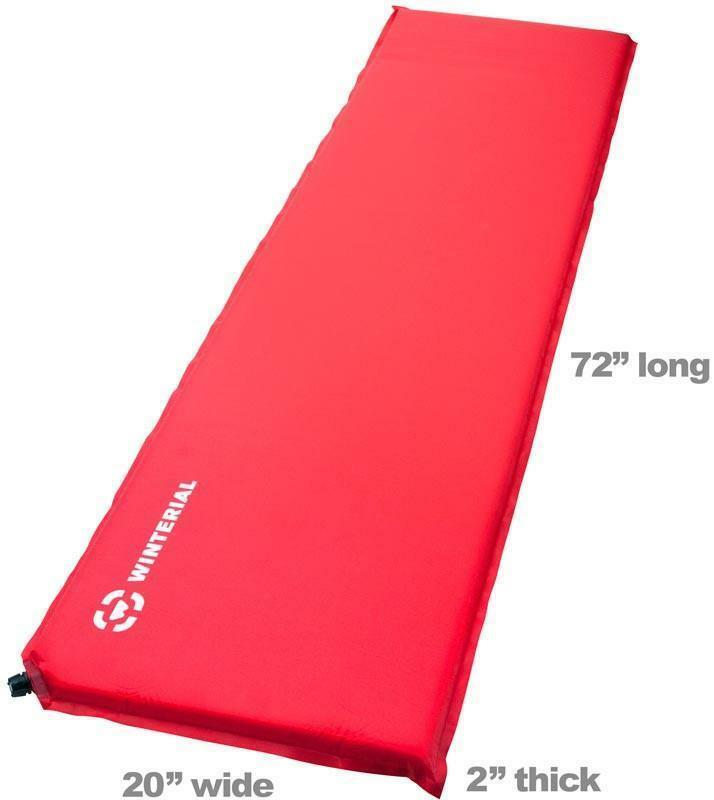 NEW Winterial Lightweight, Self-Inflating Sleeping Pad, Camping Mat, Red