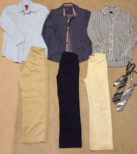 Size 8-10, boy casual pants shirts , very good condition