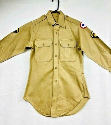 1940s Men's Shirts, Sweaters, Vests 1940s World War 2 Army Specialist Button Up Shirt Mens Khaki LS Vintage $35.69 AT vintagedancer.com