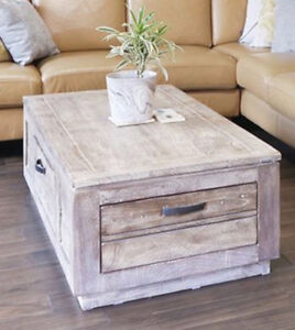 Solid Wood (Distressed Look) Coffee Table with Storage