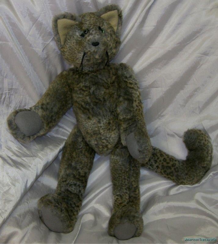 "OOAK Handmade Susie Hopkins Plush Big 23"" Jointed Leopard Kitty Cat w/Green Eyes"