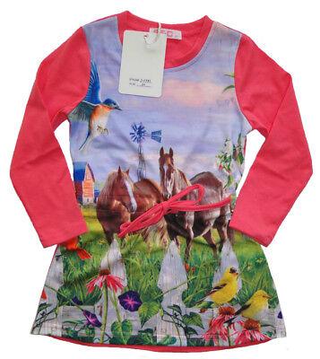 Mädchen Kleid Kinder langarm Shirt Kleider Tunika Shirt 86 - 152 Pferd Pferde