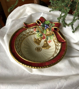 NEW in Box - Fitz & Floyd - Christmas Deer Candy Dish - Bowl
