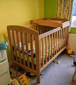 Wooden Oak Cot with baby changing platform