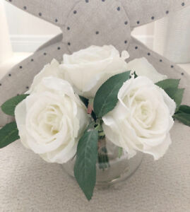 "Artificial White Roses in Round Vase - Very Realistic - 9"" Tall"