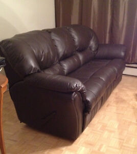 Barely Used Elran Chocolate Brown Leather Sofa