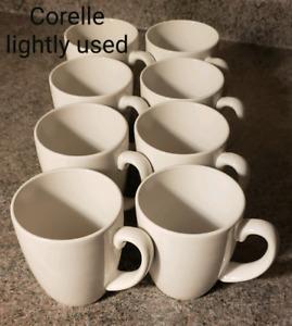8 Gently Used White Corelle Mugs