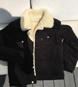 Maison Kitsune Rare Black Cord and Faux Shearling Trucker