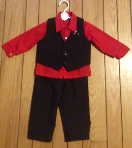 Boys Black Pants & Vest With Red Shirt, Size 18 Mths -St. Thomas
