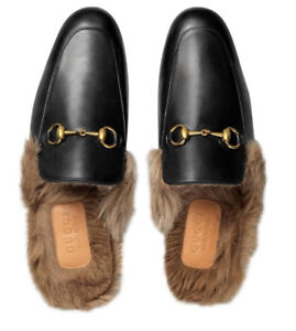 *NEW MENS GUCCI PRINCETOWN FUR-LINED MULE SLIPPER BLACK LEATHER*