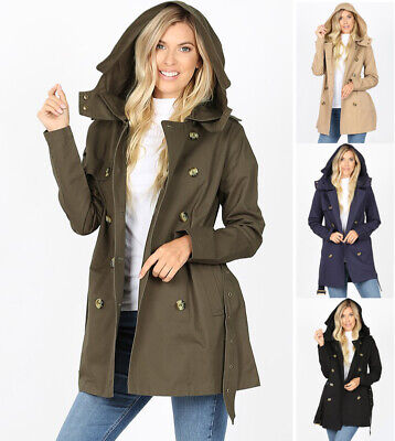 Women's Trench Coat Jacket Double Breasted Belted Hooded Buttons Pockets Cotton -