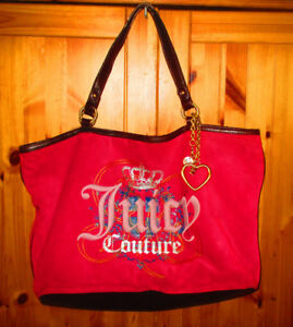 VINTAGE JUICY COUTURE Pammy Tote Bag Pink Velour Crown Heart $50