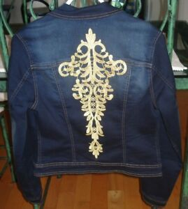 jean jacket with gold accent on back