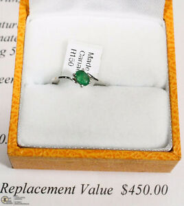 NEW 14KT WHITE GOLD LADIES EMERALD RING