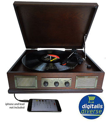 Steepletone Norwich Dark Wood Retro 3 Speed Record Player,Radio,Usb Playback mp3