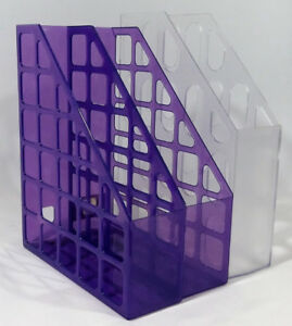Desk Office Filling Plastic Organizers Violet and Clear 3 Pieces