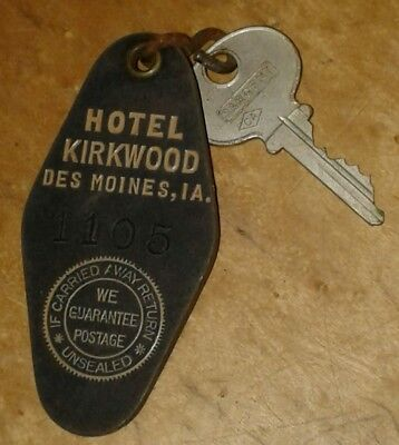 Antique Key Hotel Kirkwood Des Moines Iowa Fob Room Number 1105