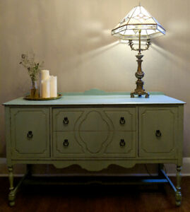 Beautiful Farmhouse Vintage Buffet Server Sideboard  in Teal