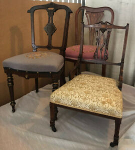 3 Unique Antique Chairs: solid wood, refurbished