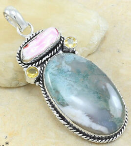 "Botswana Agate Stone Pendants in 925 Sterling Silver + 24"" Chain"