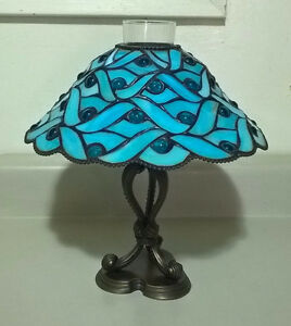 PartyLite Spring Water Blue Stained Glass Candle Lamp