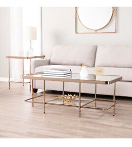 Brand New Coffee Table (Mirrored, Rose Gold Metal Frame)
