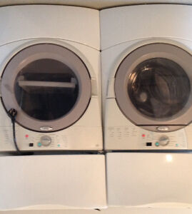 Whirlpool Duet Washer and Dryer combo with pedestals