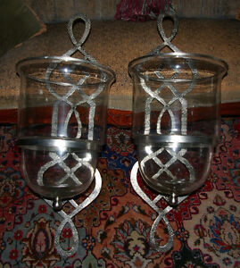 Pair of HUGE Nickel Hurricane Candle Sconces- virgin condition West Island Greater Montréal image 7