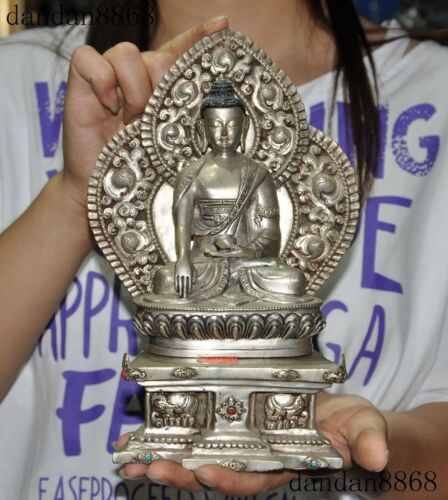 "9"":Old Tibet Buddhism temple silver Sakyamuni Shakyamuni Medicine Buddha statue"