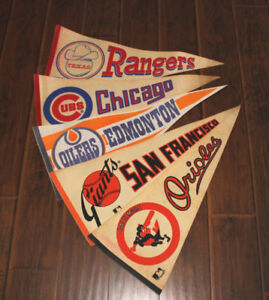 1960'S BASEBALL & FULL SIZE HOCKEY PENNANTS