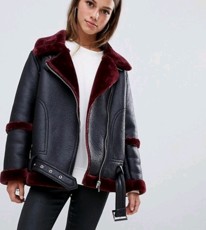 Womens Asos Aviator Jacket Black And Red In Edinburgh
