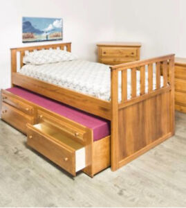 pine captains trundle bed with drawers and pine desk