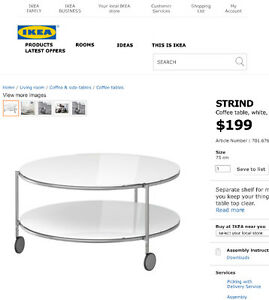 Ikea Round Glass Rolling Coffee Table