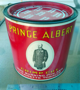 PRINCE ALBERT CRIMP CUT Round Lidded Pipe Cigarette TOBACCO Tin