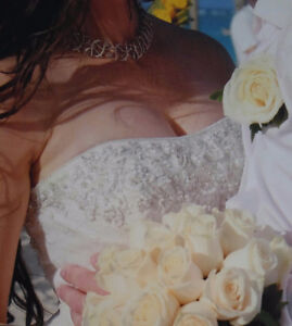 Beautiful ivory strapless wedding dress for sale Windsor Region Ontario image 2