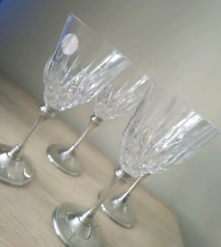 Four lovely vintage heavy hand cut crystal glass by Royale County