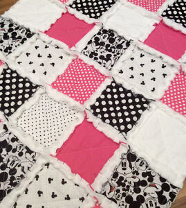 Minnie and Mickey Mouse and coral buck themed rag quilts