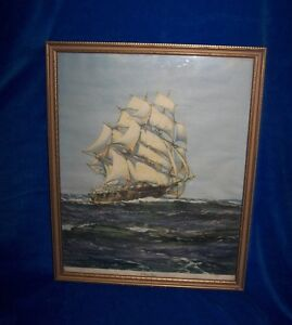 VINTAGE SAILBOAT PRINT NICELY FRAMED.