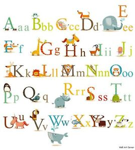 Educational-Animals-Alphabet-Kids-Wall-Sticker-Decals