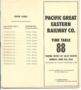 Pacific Great Eastern Railway, time table 88, 1964