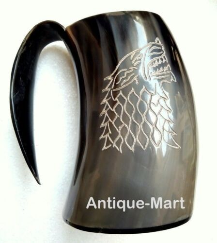 "Wolf Viking Horn Mug Handmade Wine Mead Drinking Mug For Beer Beautiful Gift 6"""