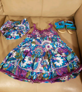 Dress, diaper cover and sandals