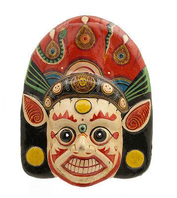 Mask Hat and Mitten Set Mahakali Kali Dance Indra Jatra Nepal Paper Mache 8453