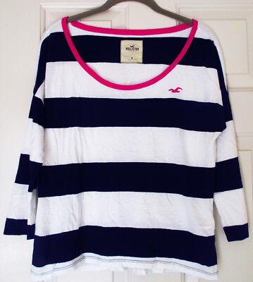 (HCO Hollister Rugby Stripe 3/4 Sleeve Crewneck Tee Top Shirt Pink Navy White M)