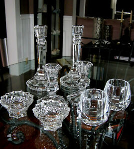 4 sets of vintage and modern crystal candle holders