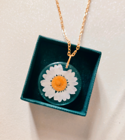 Real Pressed Daisy Flower Resin Gold Charm Necklace
