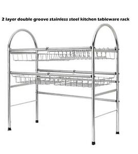 2 layer double groove stainless kitchen tableware rack(020050)