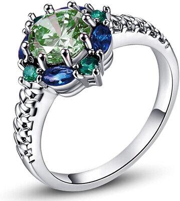 Delicate Flower Design 925 Silver Emerald Sapphire Ring Women Fashion Jewelry