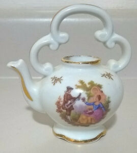 Vintage Mini Limoges Victorian Courting Couple Gold Gilt Teapot